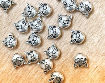 Tibetan silver beads, cat head beads, 8mm beads, jewelry making, crafts, 10 pack of beads