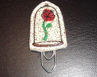 Enchanted Rose -  Book - Paper Clip - Felt Planner Clip - Planner Accessory - Stationery - Cute Paper Clip - Bookmark - Planner Clip