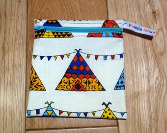 Snack Bag - Bikini Bag - Lunch Bag - Make Up Bag Small Poppins Waterproof Lined Zip Pouch - Sandwich bag  Eco -Wigwam Tent Camping Tepee