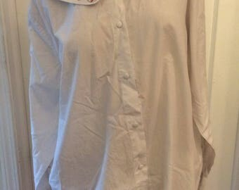 Expressions plus, collared white button up blouse with christmas present design