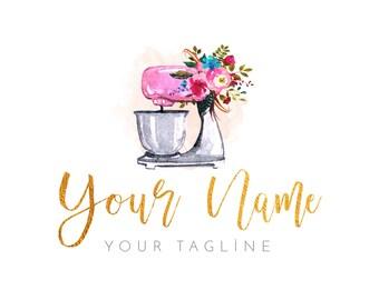 Premade Watercolor Logo - Watercolor Cakes  - Floral Logo - Boho Logo - Bakery logo - Artisan Cakes Logo - Cake logo  Cooking logo Mixer