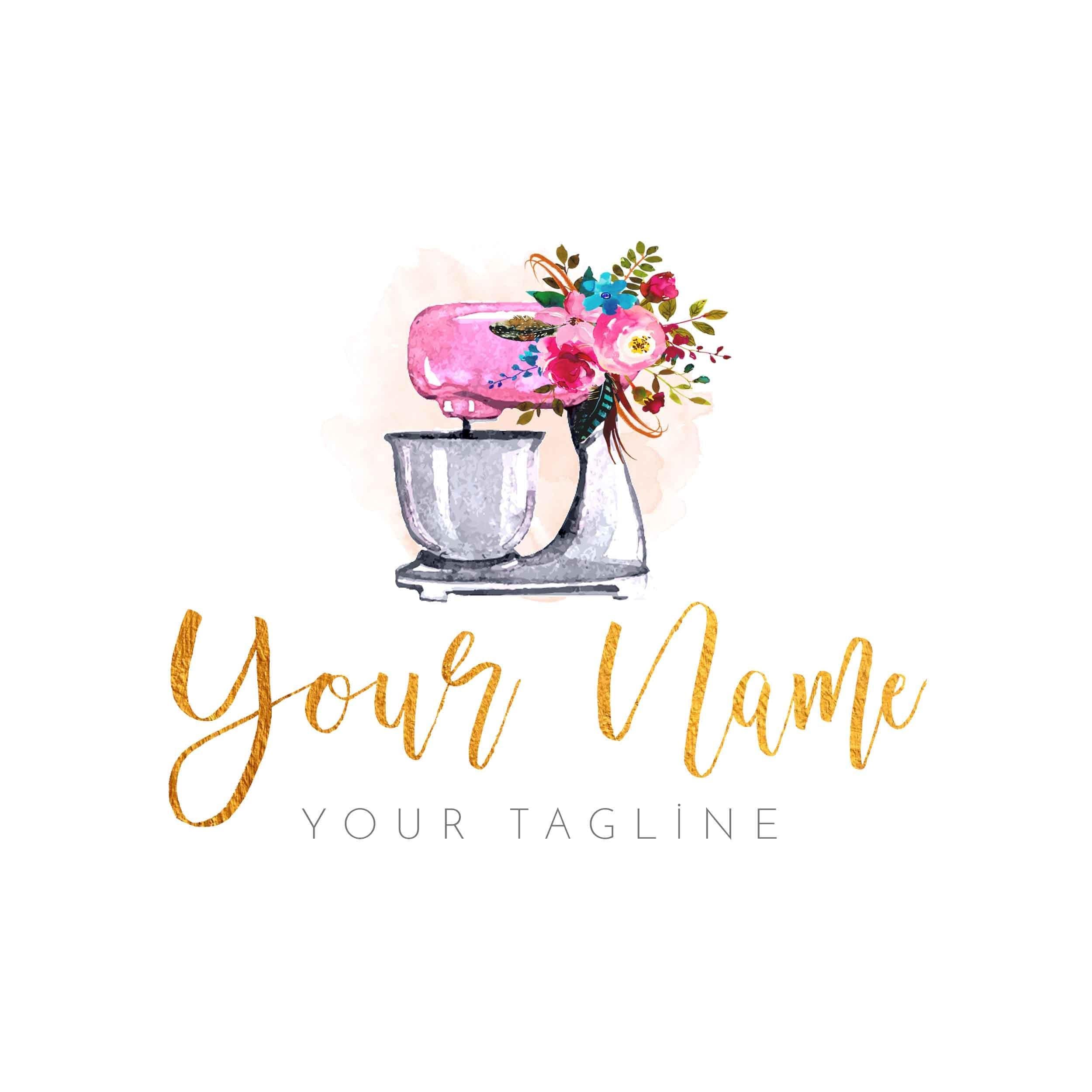 Cake Artist Logo : Premade Watercolor Logo Watercolor Cakes Floral Logo