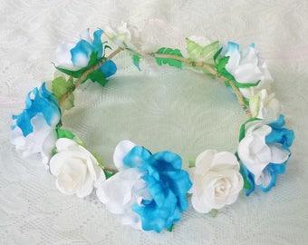 Big rose flower crown Blue white headband /Colorful flower headpiece /floral headpiece/ flower crown ribbon tie back