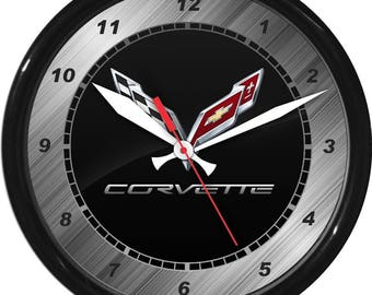 "12"" Corvette Wall Clock Garage Work Shop Gift Father's Day Man Cave Rec Room"