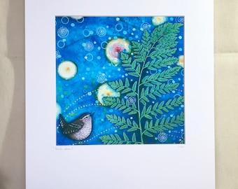 "Pacific Wren print, batik/acrylic mixed media, 11""x14"" or 8""x10"" mat, ""Pacific Wren"""