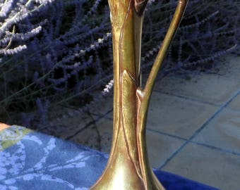 REDUCED - Art Nouveau bronze vase, nature inspired, delightful, not a reproduction.