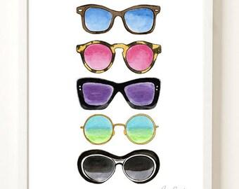 Digital Download Sunglasses Fashion Print, Fashion Illustration, Fashion Prints, Fashion Poster, Printable Wall art, Fashion Wall Art
