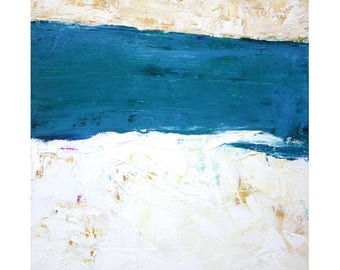 Turquoise Blue White Minimalist Abstract Landscape Oil Painting 12 x 12 square art Dallas artist Paul Ashby