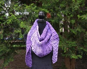 Triangle Scarf, Triangle Shawl, Winter Scarf, Crochet Scarf, Purple Scarf