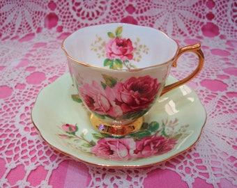 Beautiful Vintage Royal Albert Pastel Green AMERICAN BEAUTY Cup & Saucer.