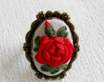 """OOAK Ring embroidered natural silk ribbon """"Red Rose"""" - Vintage ring - Embroidered ring - Gift for Her - Stylish accessory"""