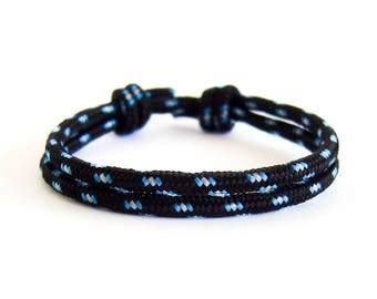 Rope Bracelet, Rope Bracelet Mens, Rope Bracelet With Knots That Slides. Nautical Braid Jewelry For Guys. Black