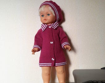 50/52cms dolls, coat and beret wool clothing