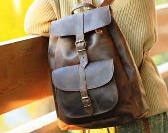Leather backpack, brown leather, gift for men, gift for her, leather rucksack, boho leather bag, M/ L/ XL size backpack, unisex,