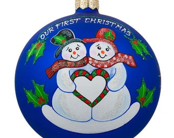 """4"""" Snowman Couple and Heart Glass Ball Our First Christmas Ornament"""
