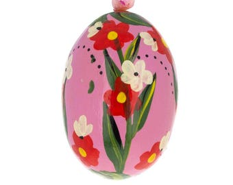 "3"" Red Flowers on Pink Egg Wooden Egg Easter Ornament"