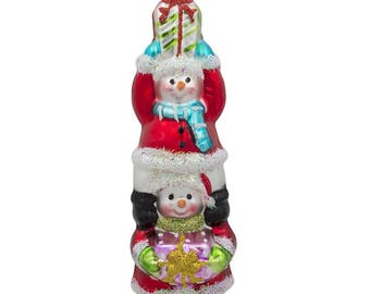 """6"""" Snowmen Friends with Gifts Glass Christmas Ornament"""