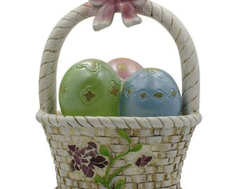 "6.5"" LED Easter Egg Basket Decorative Figurine"