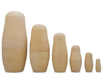 "6.5"" Set of 6 Unpainted Blank Wooden Nesting Dolls"