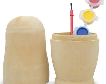 """6.75"""" Paint your Own Single Blank Wooden Nesting Doll"""