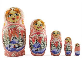 "5.5"" Set of 5 Winter Pink Landscape Russian Nesting Dolls"
