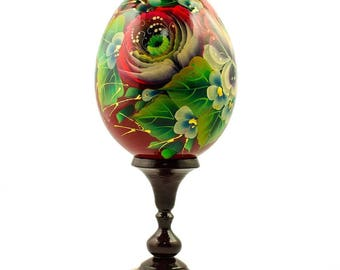 Rose Flower Russian Wooden Easter Egg