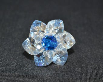 "Crystal ring of Swarovski ""Sky distant"" crystal moonlight-capri blue ab"