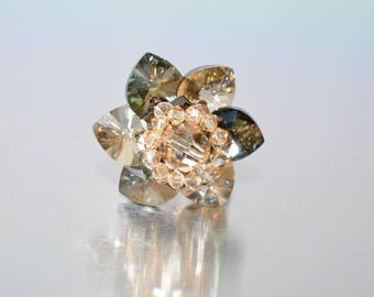 "Swarovski crystal ring ""Tinker Bell"" crystal foiled-bronze shade-golden shadow"