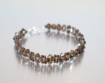 Bracelet fine crystal Swarovski bronze shade 2x
