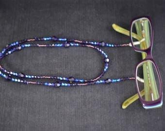 Swarovski purple velvet-purple crystal glasses lanyard - length 73 cm