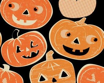 Spooktacular - Pumpkintopia Black - by Maude Assbury - 100% Premium Cotton Fabric (Blend Fabrics  101.107.01.1)