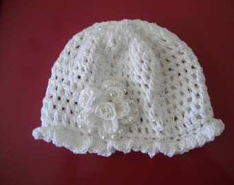 White christening baby bonnet and white flower beaded cotton handmade - ideal christening ceremony wedding parties