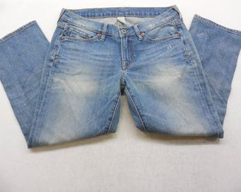 Womens Lucky Brand Distressed Medium Wash Denim Ankle Jeans Capri's Size 6 / 28