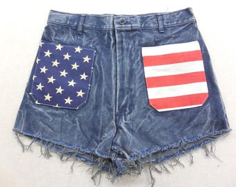 Upcycled Women's Acid Wash Denim American Flag High Waisted Jean Shorts Size 30 XL