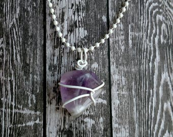 Amethyst Necklace - Wire Wrapped Necklace - Purple