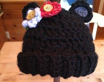 Baby black bear hat 0-6 months