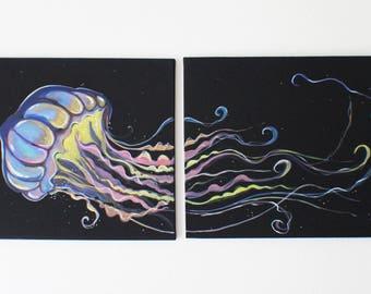 Jellyfish original painting, Acrylic, Vibrant, Whimsical