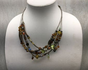 CHICO'S Necklace, Brown, Green, Gold, Vintage Necklace, Multi Strand, Statement Necklace, Costume Jewelry, Chico, Chicos, Designer Jewelry