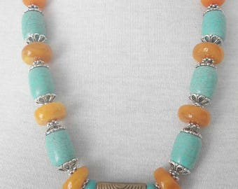Necklace amber and Turquoise