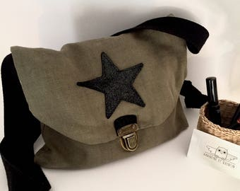 Wallet khaki and star sequins - France linen handbag