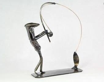 Fisherman   Metal Art   fisherman figurine   Railroad spike art   Metal Art fishing   whopper fish   fishing
