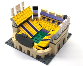 Mini LSU Tiger Stadium Custom Brick Set with Printed Instructions