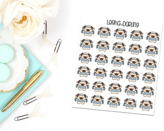 Weight Lifting Pug Planner Stickers