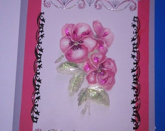3D 288 hand made and embroidered greeting card