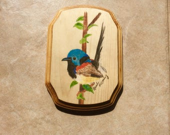 "Variegated Fairy Wren 7x5"" Wooden Wall Plaque"