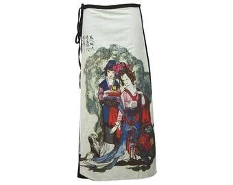 Asian Traditional Art, Japanese Ladies, Art Print Wrap Cotton Skirt SW090