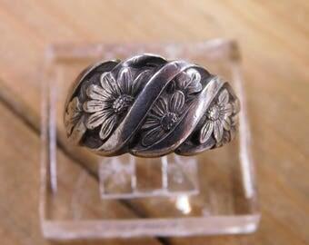 Vintage Adjustable Flower Sterling Silver Ring