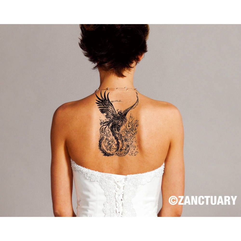 Phoenix Temporary Tattoo Phoenix Tattoo Phoenix Fake Tattoo