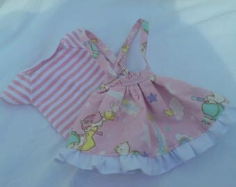 Kawaii Set skirt with straps + long sleeves striped print for BJD SD or Dolfie dreams
