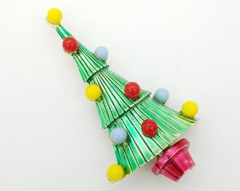 Vintage 1960's Green, Yellow, Red & Blue Christmas Tree Brooch